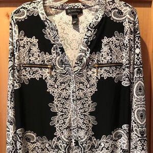INC Long Sleeved Black White Blouse Beautiful NWOT